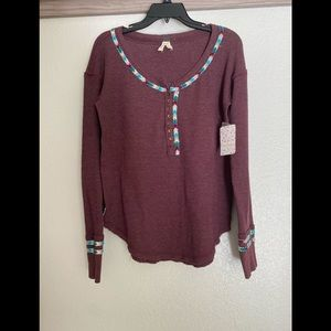 Free People burgundy long sleeve top